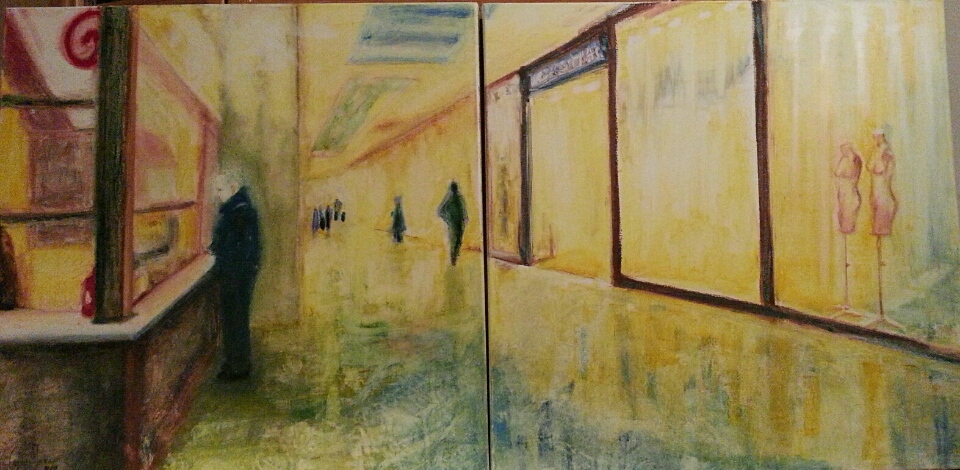 """""""KEBAB FOR TWO"""" diptych. Oil pastel, 50 x 100 cm. 2018."""