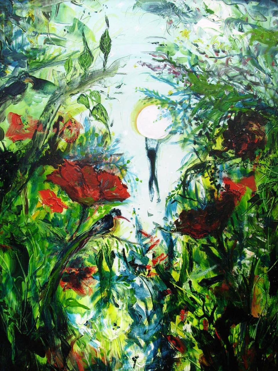 """VENDIDO. Carmen Moreno. """"La vida es sueño"""", """"Das Leben ein Traum"""", óleo sobre lienzo, 50 x 100 cm., 1995."""