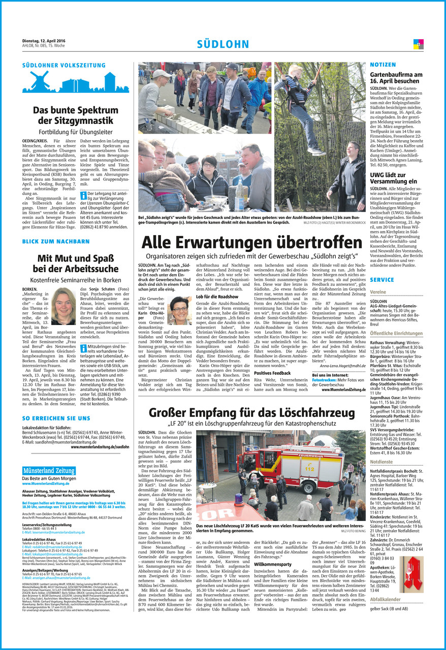 Münsterland Zeitung • Dienstag, 12. April 2016