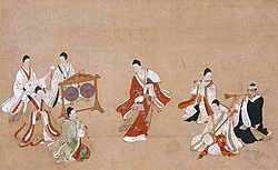 Aristocratic youth in long-sleeved kimono dancing to music. Court dances were also performed for the Shogun on diplomatic visits to Edo.