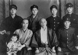 Choki sensei (front, center) in his latter years, 1942