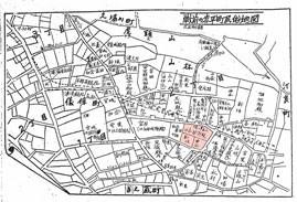 本部御殿跡(ピンク色)。敷地は三分割して売却された。「戦前の赤平町民俗地図」より。クリックで拡大。