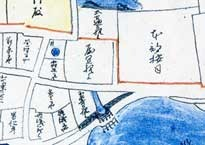 Map of Shuri in the 18th century. The residence of the Motobu Aji is on the upper right.