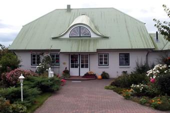 Einfamilienhaus mit dem typisch grünen Dach im Sönke-Nissen-Koog