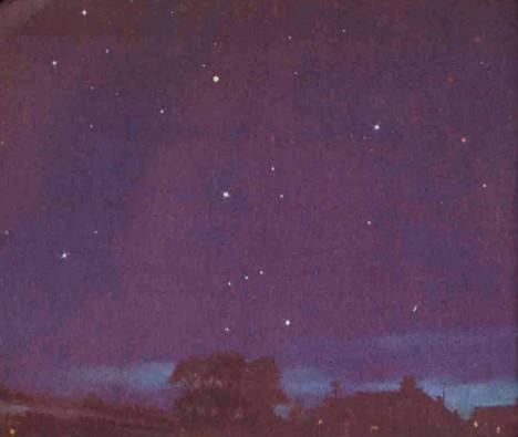 Dans le ciel nocturne, Jupiter et Mars brillent respectivement d'un éclat  blanc et rougeoyant. Au centre la constellation d'Orion. Ciel d'Hiver.