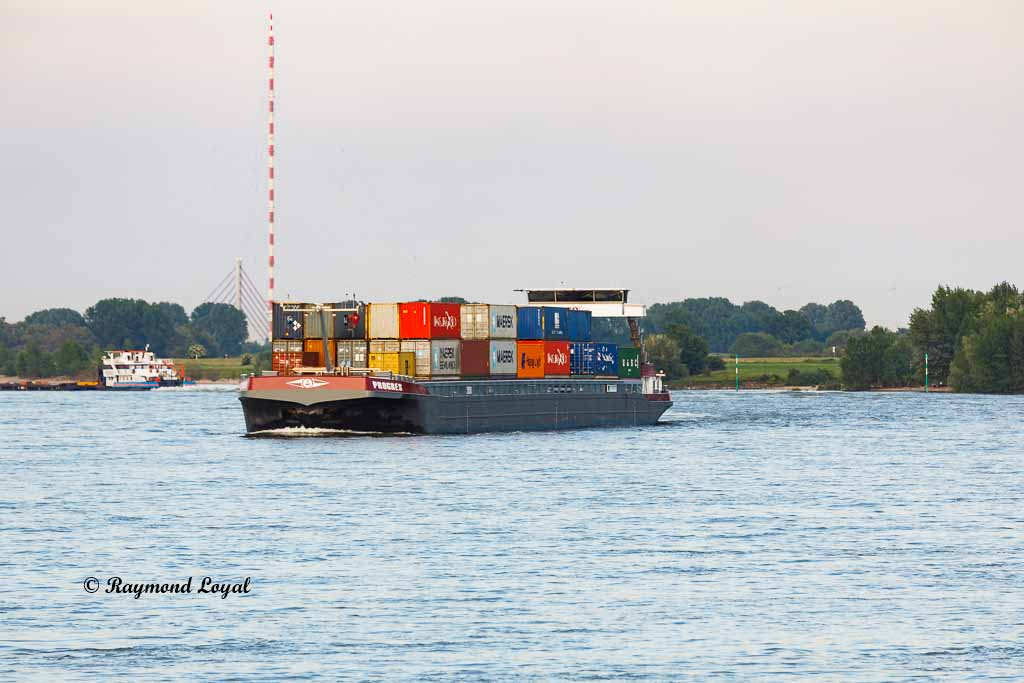 container barge on the river rhine