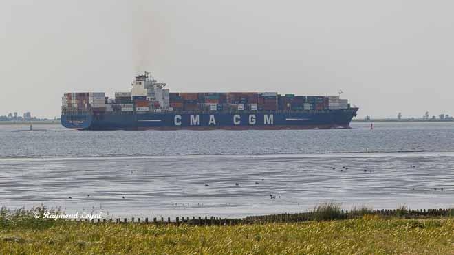 container ship river elbe cma cgm