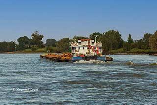 barge on river rhine