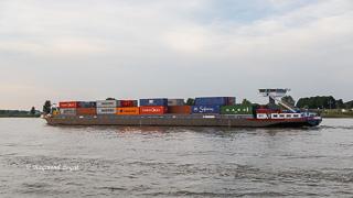 container schiff fluss rhein xanten