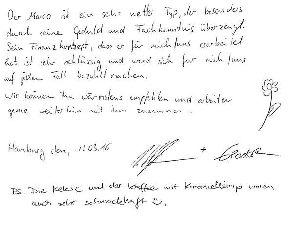 Hamburg, den 11.03.2016     S. W. Hoffmann, Zahntechniker   G. J. Podesta, Groß- und Außenhandelskauffrau