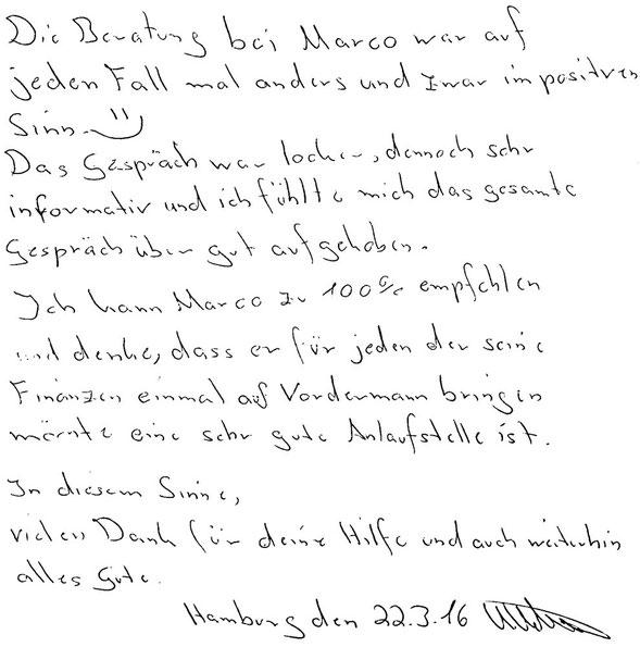 Hamburg, den 22.03.2016   K. Ketner, Serviceberater für KFZ