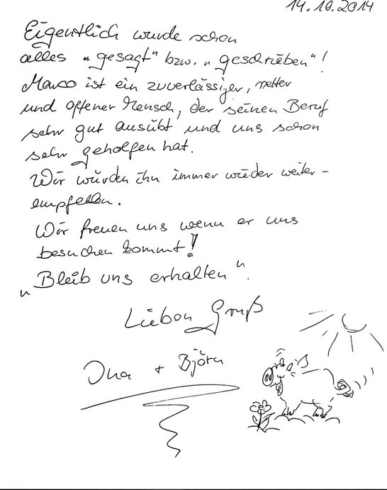Tarp (bei Flensburg), den 14.10.2014   Ina & Björn Albrecht, Altenpfleger