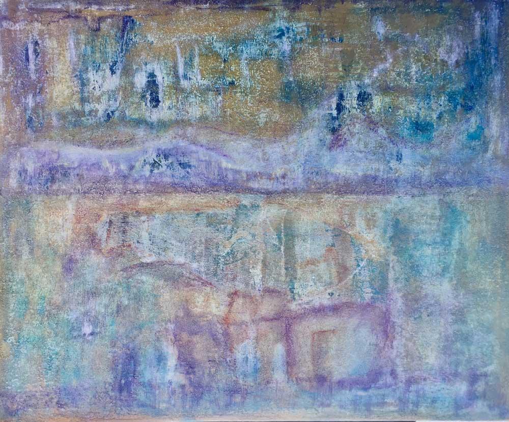 """Birgit Schweimler """"Reflektion""""  - Acryl, diverse Materialien auf Leinwand 100x120x4 cm"""