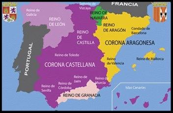 Mapa de todos los reinos de España y del reino de Valencia, hoy Comunidad Valenciana hace 5 siglos.