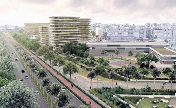 Nuevo barrio de Benimaclet  propuesto por la empresa Metrovacesa-imagen, diario Levante. Emv