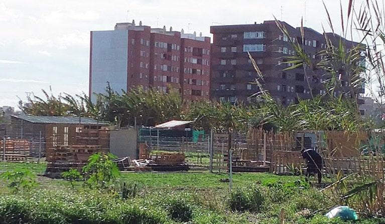 Terrenos ocupados  en el barrio de Benimaclet  en València.