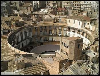 Plaza redonda de Valencia desde el aire.