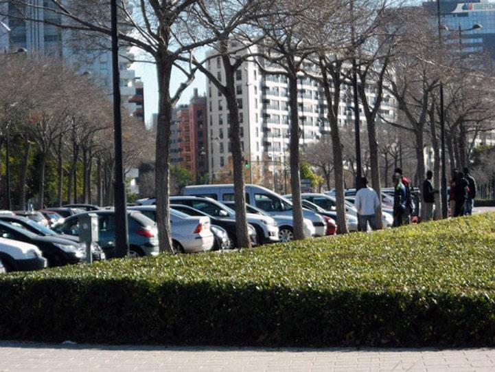 Un grupo de gorrillas o aparcacoches ilegales en la Avenida de Francia en Valencia