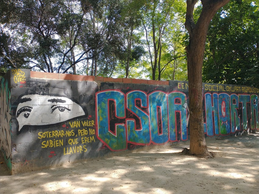 Centro Social Okupado Anarquista (CSOA) l'Horta del barrio de Benimaclet, en València.