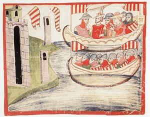 Pedro III de Aragón en Trapani (Sicilia), en 1282.