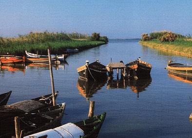Barcas en un canal de la Albufera de Valencia.