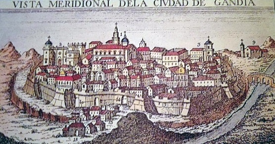Mapa de la ciudad de Gandia de Joanor Martorell en el Siglo XV en el Reino de Valencia