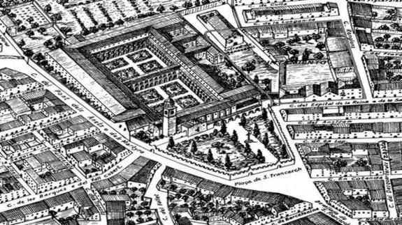 El convento de San Francisco que luego se convirtió en plaza del Ayuntamiento de Valencia, en el plano de Tosca del siglo XVIII.