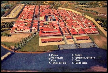 Mapa de la Valentia romana actual Valencia (España)