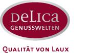 Die Grafik zeigt das Logo der Fa. Delica mit dem Text Delica Genusswelten und dem Schriftzug Qualität von Laux