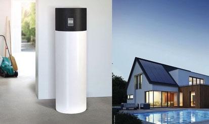 Warmwasser-Wärmepumpe (links) und Photovoltaik (rechts)