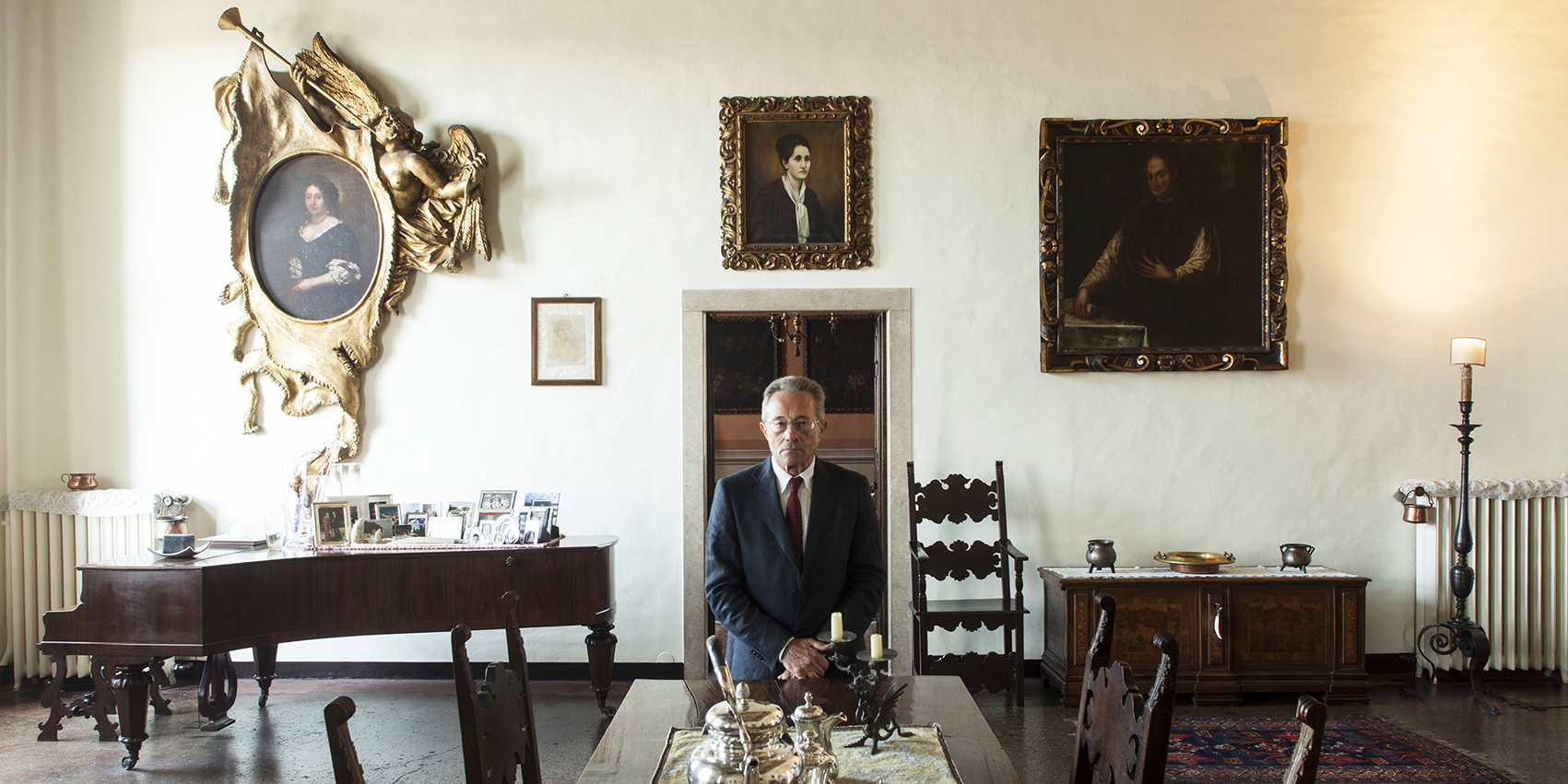 Interior of Villa Pisani, portrait of the owner.