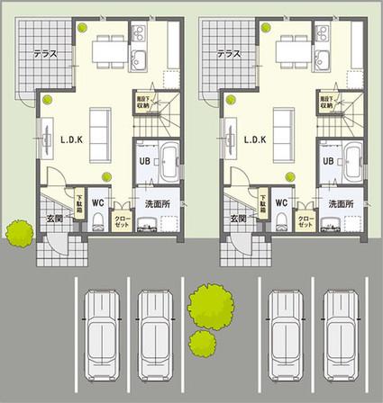 約60坪の敷地に戸建賃貸2棟と駐車場4台分を配置した一例です。