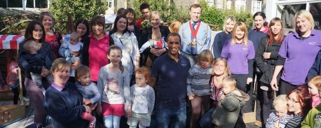 staff and parents photo for our nursery open day with Aberystwyth town mayor and children who recommend us