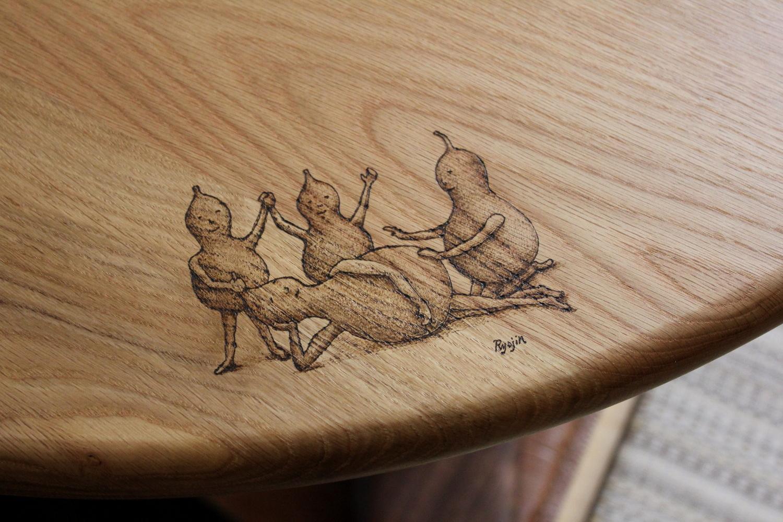 ひょうたんビトのイラスト入りそら豆ダイニングテーブル(さいたま市・I様邸)