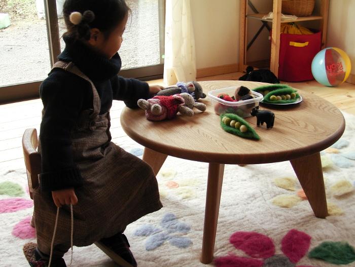 子供の丸テーブルと椅子(相模原市・U様邸)