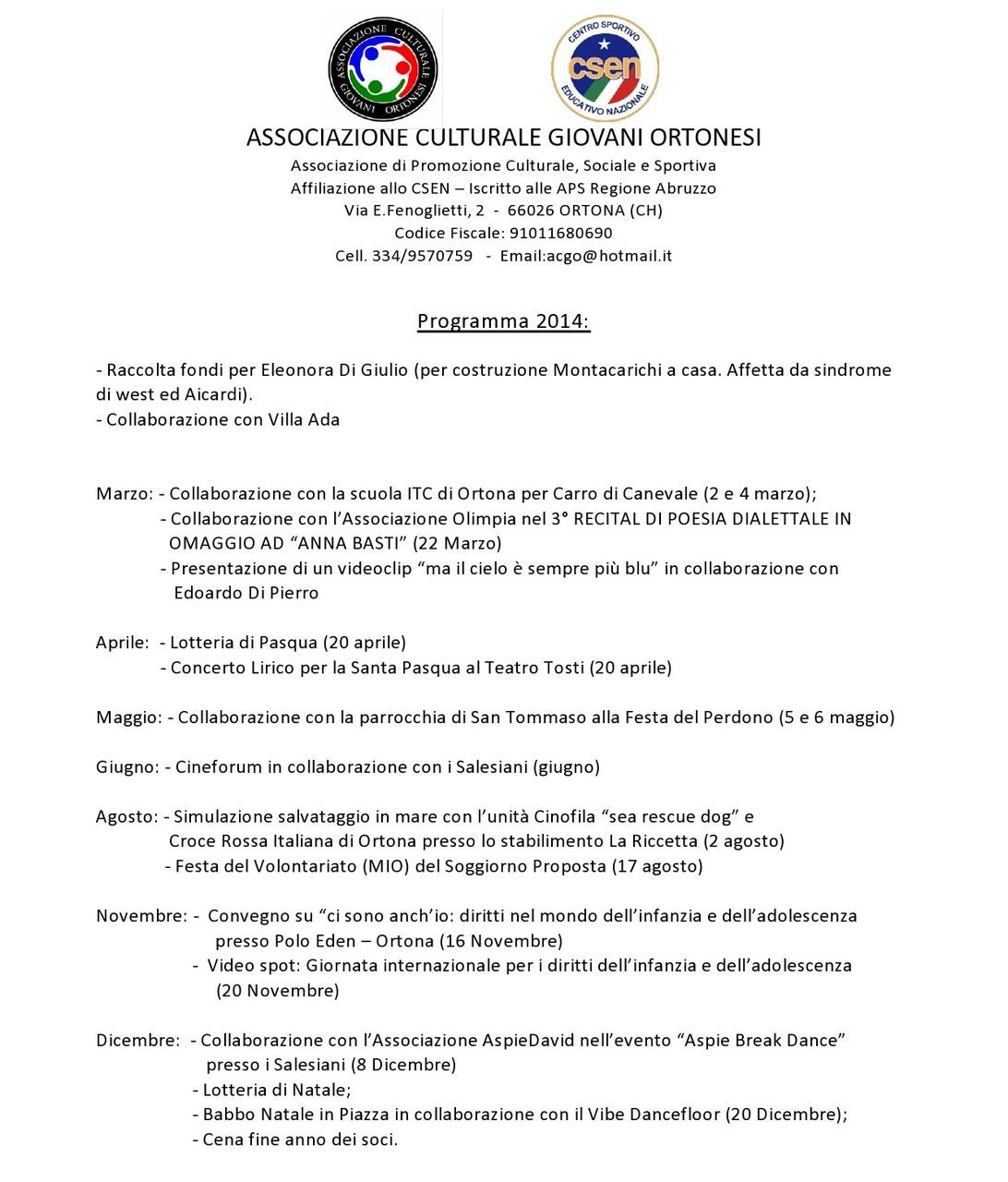 Programma svolto - ACGO