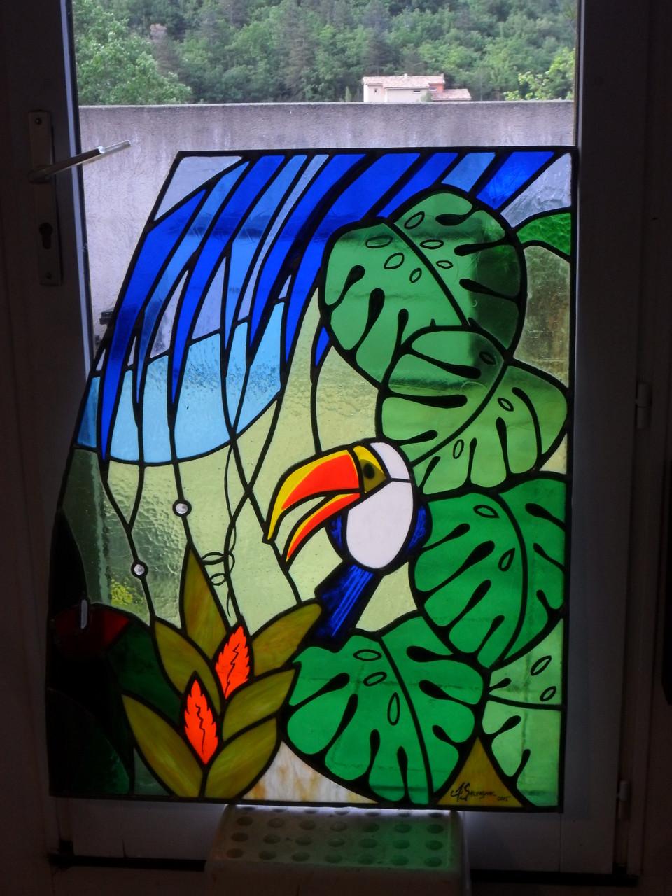 vitrail Jungle triptyque 3 - Art du vitrail - Puimisson 34