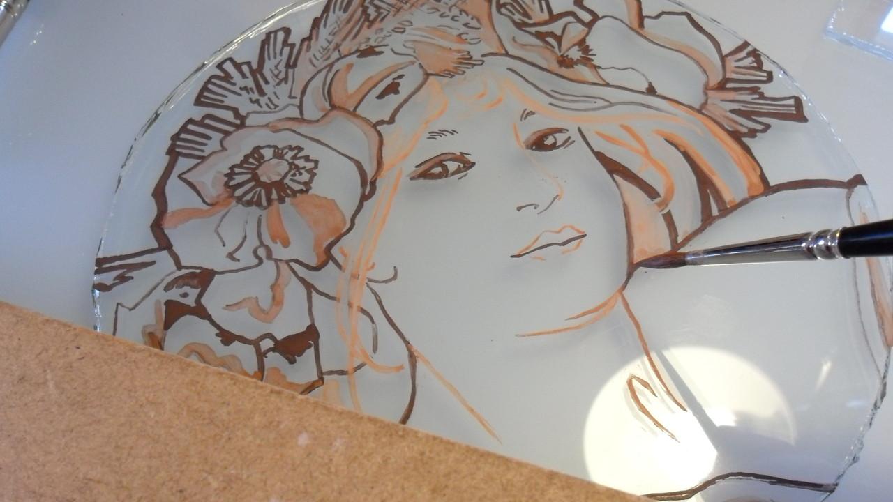 Portrait aux coquelicots d'aprés Alfons Mucha