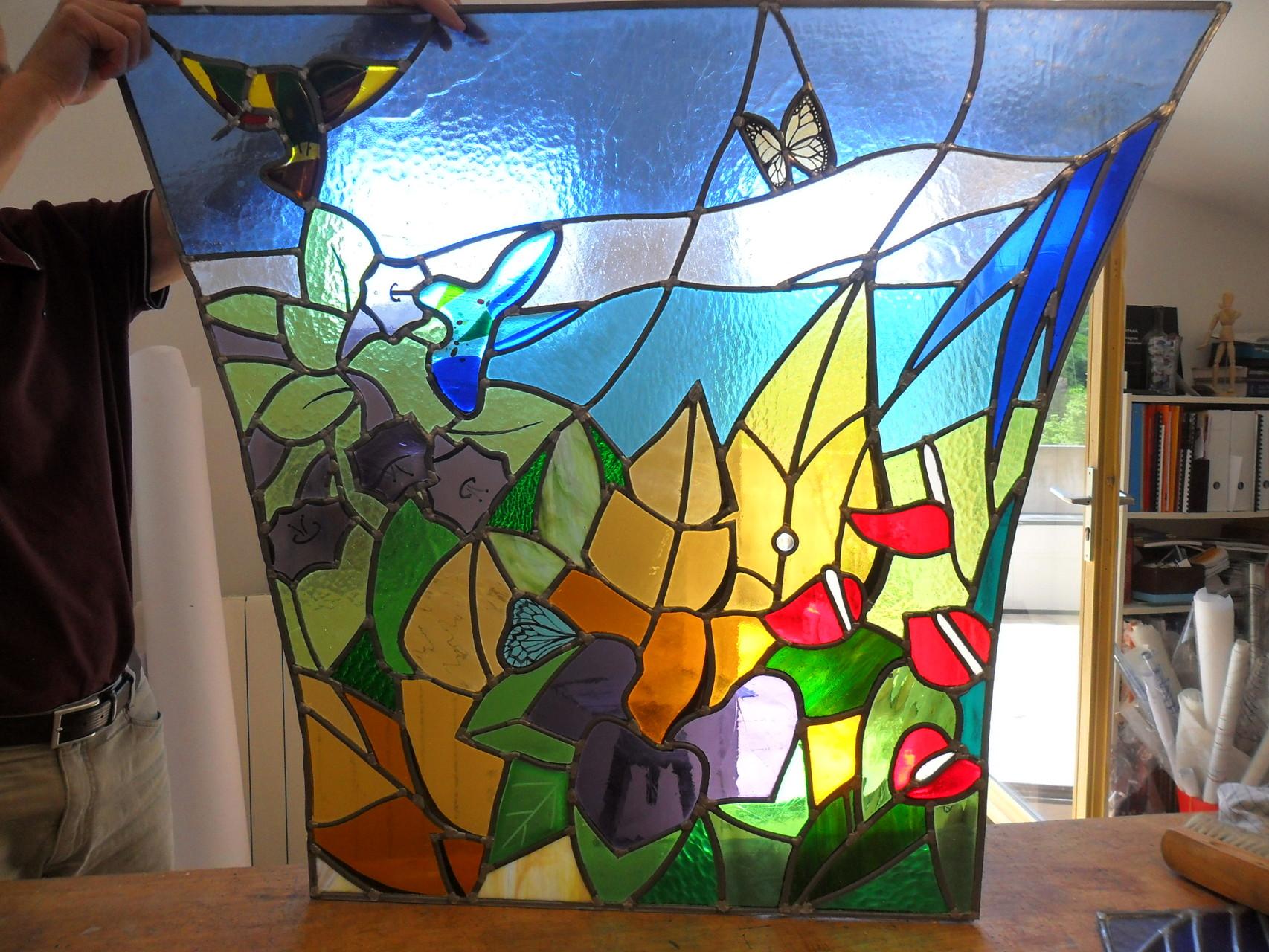vitrail Jungle triptyque 2 - Art du vitrail - Puimisson 34
