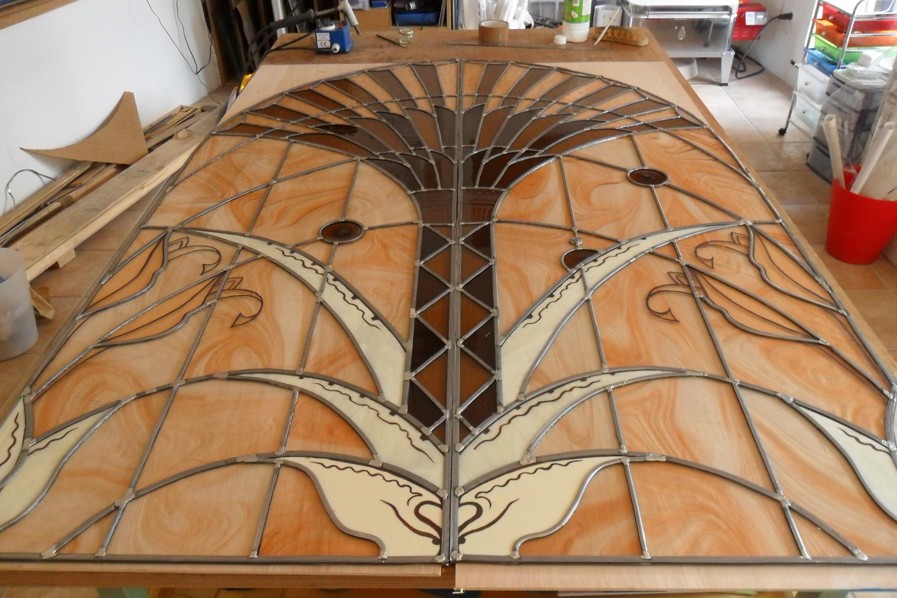 vitrail au palmier- ensemble de 4 vitraux- Millau 12