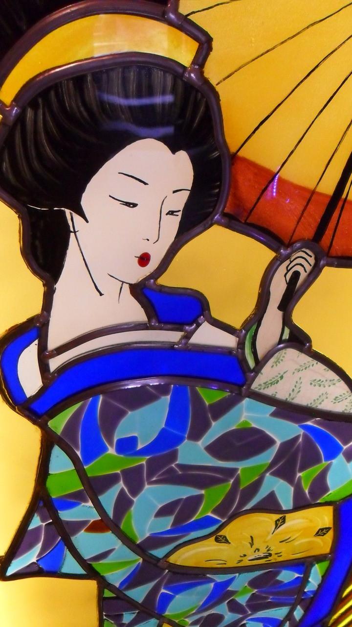vitrail geisha -détail- Art du Vitrail
