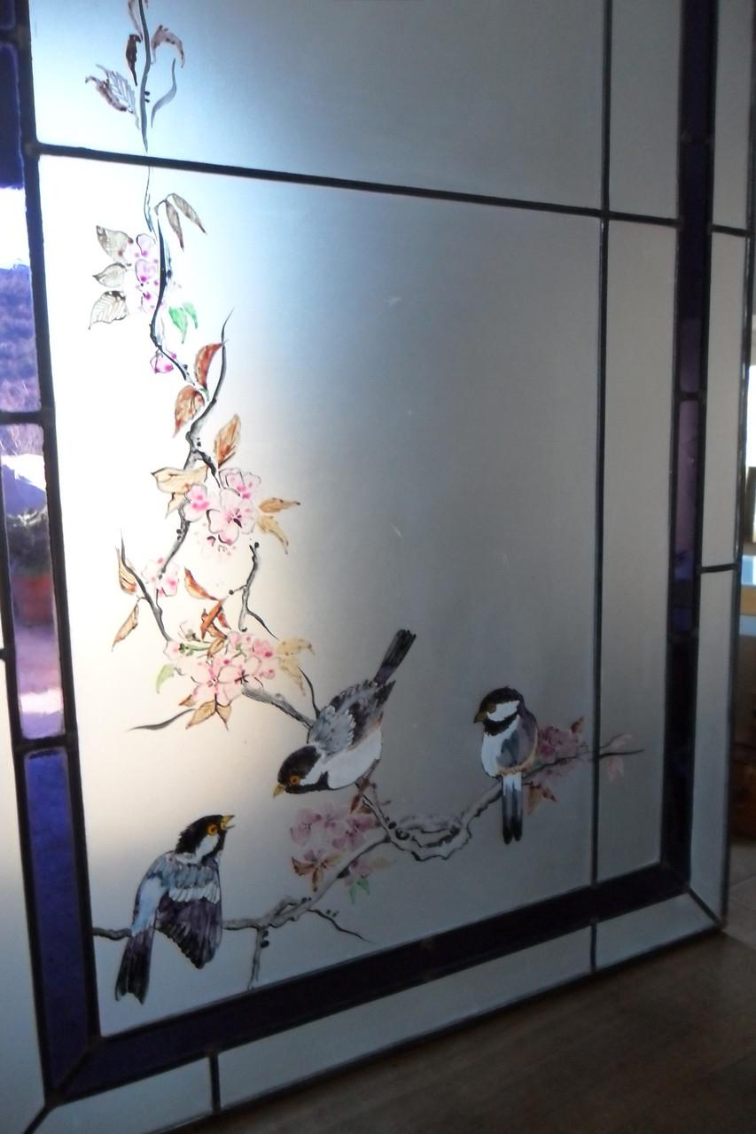 vitrail aux oiseaux Mésanges- peinture à l'émail-Art du vitrail-Montpellier