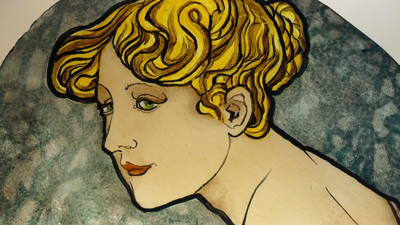 Détail d'un portrait d'aprés Alfons Mucha