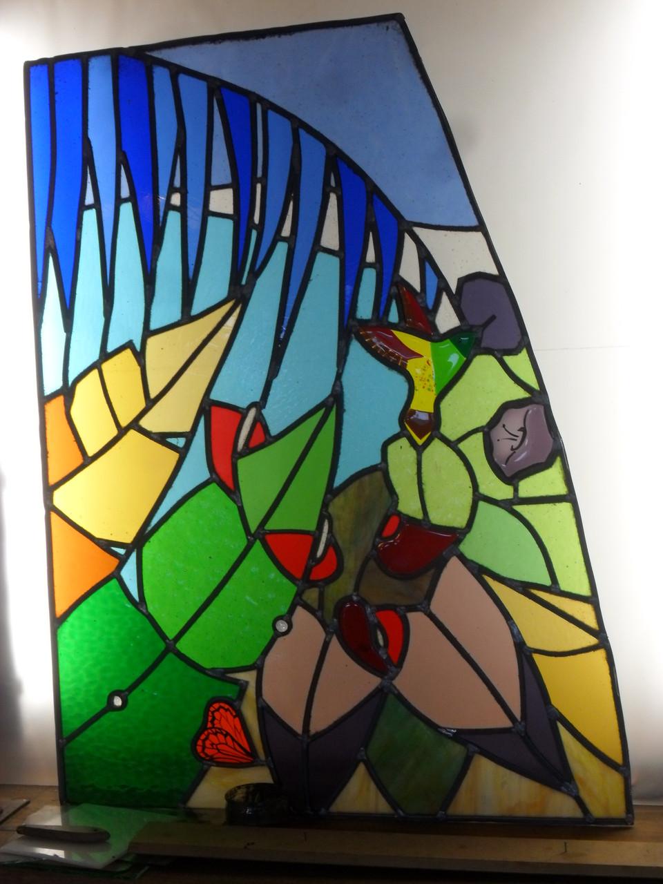 vitrail Jungle triptyque1- Art du vitrail - Puimisson 34