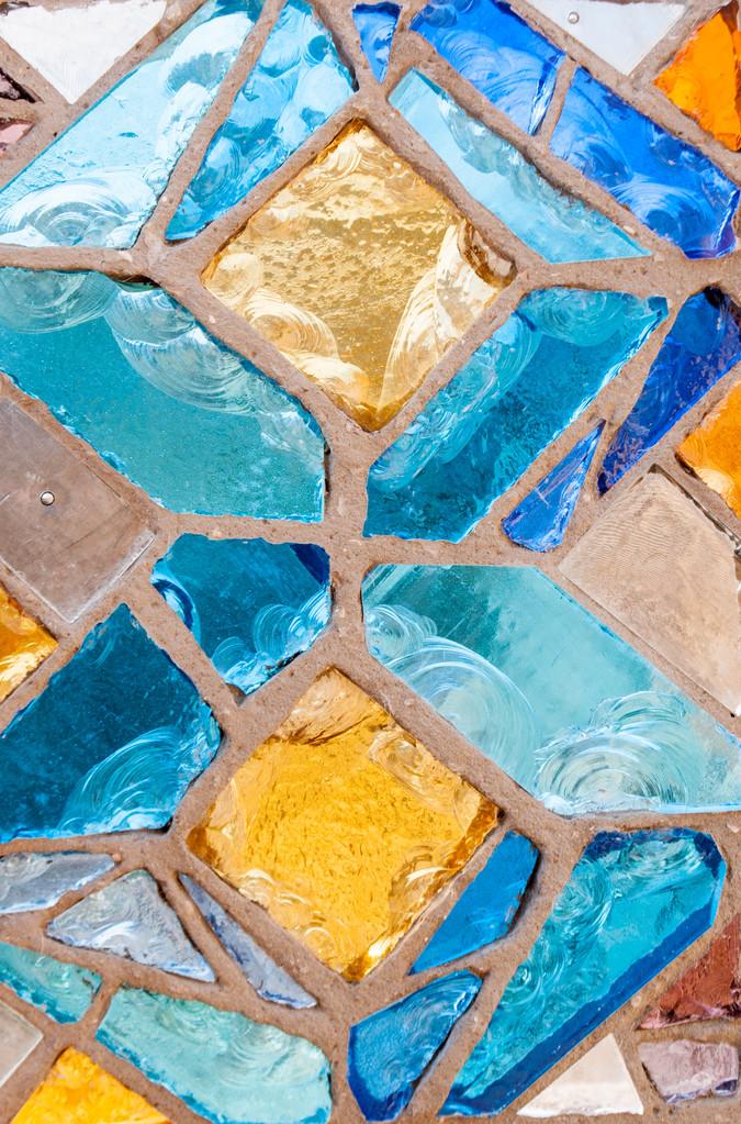 Vitrail en dalle de verre et ciment (détail)