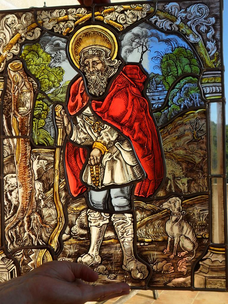 St Wendelin 1510-  Peinture sur verre- reproduction