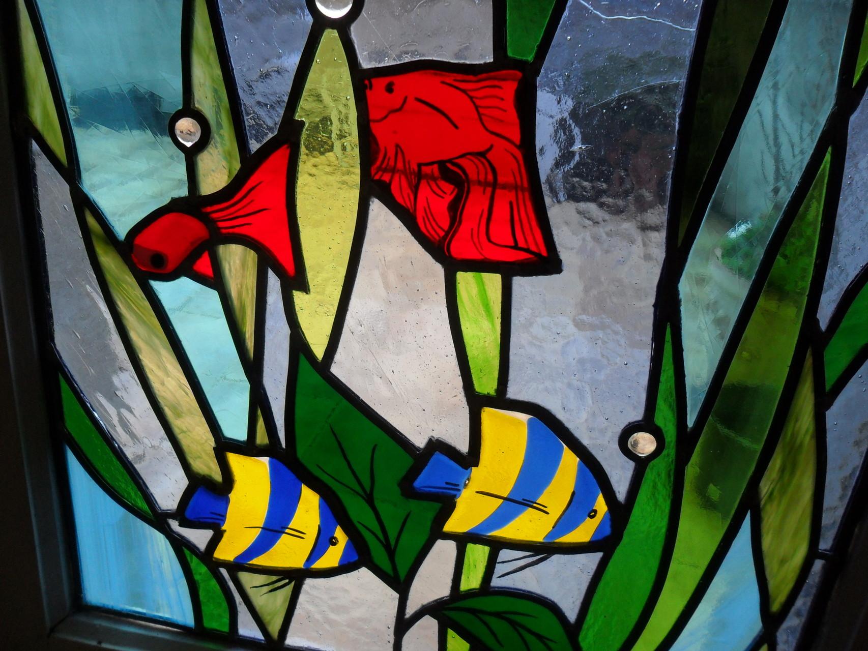 Vitrail Aquarium-vitrail au plomb, peinture, fusing