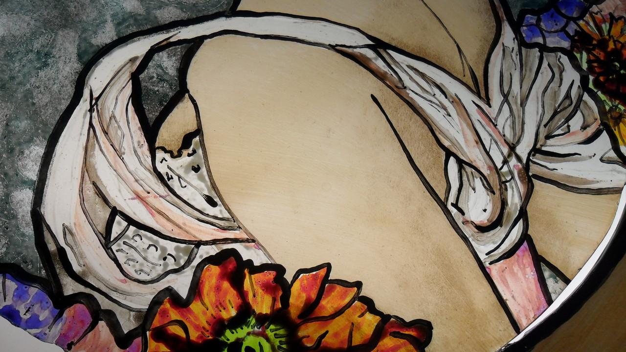 Détail d'un portrait d'aprés Alfons Mucha- reproduction