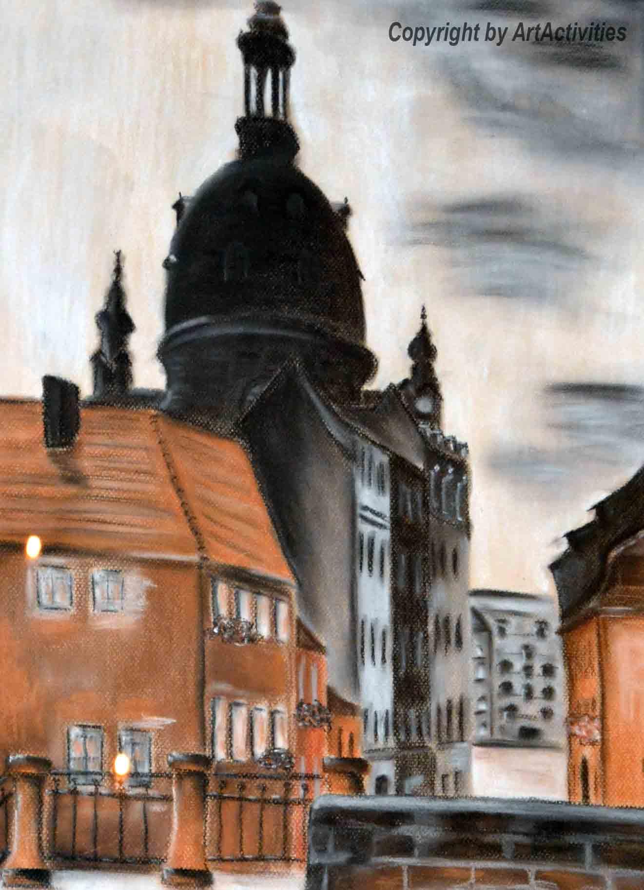 Street of Dresden, 50x70cm, Pastel on Paper