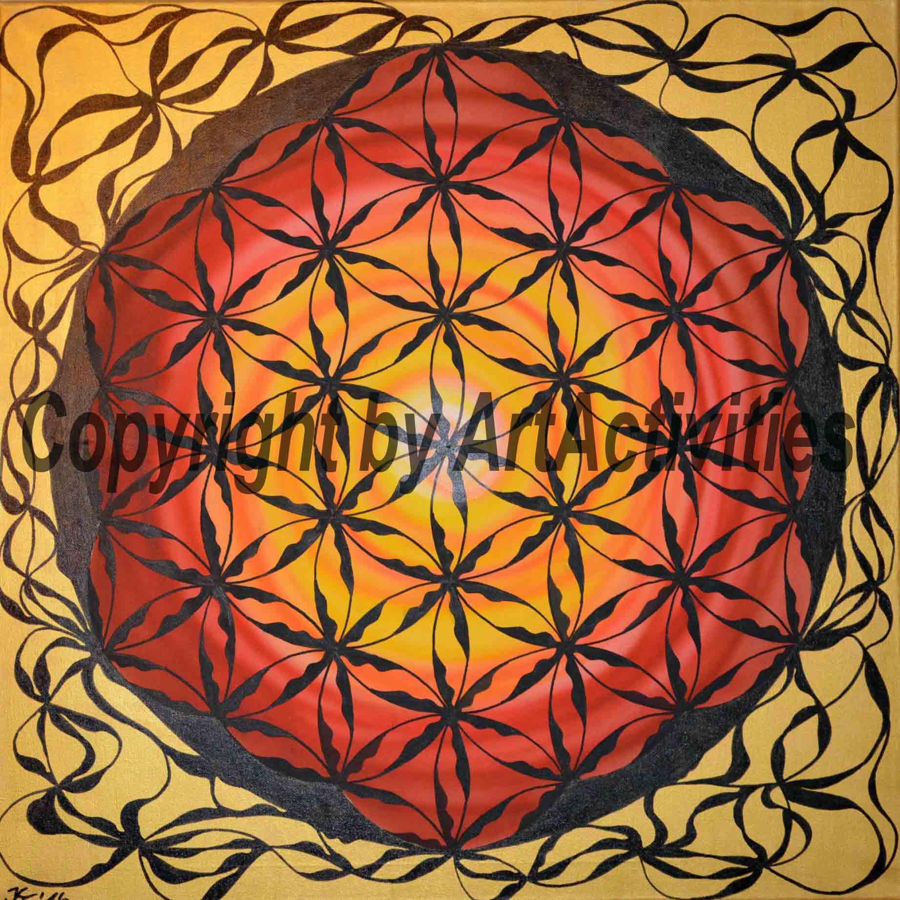 Flower of Life, 70x70cm,  Acryl on canvas
